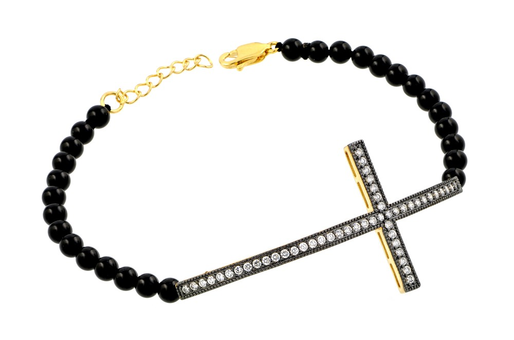 "Sterling Silver ""Cross"" Bracelet with Black Onyx"